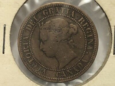 1876-H Canadian Circulated One Large Cent Victoria Coin!