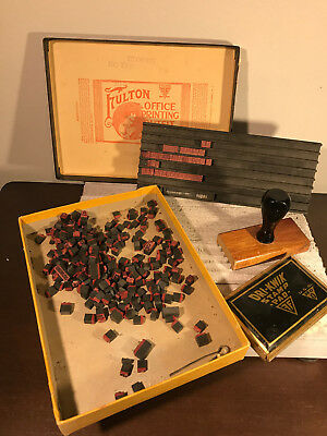 Vintage Fulton Rubber Stamp Printing Set A-Z numbers letters sign custom