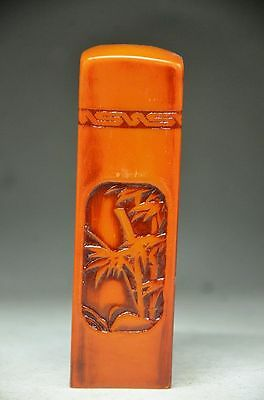 Collectible Unique Chinese Shoushan Stone Hand Carved Bamboo Seal Fd2