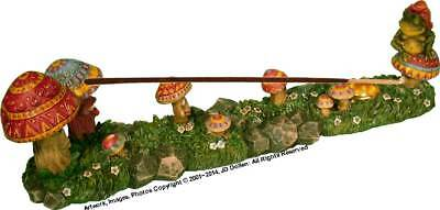 Magic Mushroom Garden Family & Frog Wizard Stick Incense burner #3018, From USA