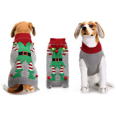 Christmas Holiday Dog Puppy Cat Ugly Sweater Clown Xmas Pet Clothes Outfit