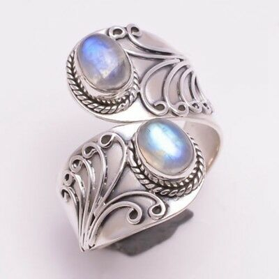 Size 6-10 Vintage Women Jewelry Ring Anniversary Gifts Silver Plated Moonstone