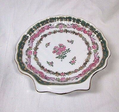 Porcelain Candy Soap Small Dish Bowl Clam Shell Shaped Floral Flower design 6""