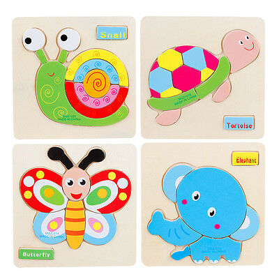 1Pc Kids Baby Wooden Cartoon Animal Puzzles Toys Learning Jigsaw Christmas Gifts