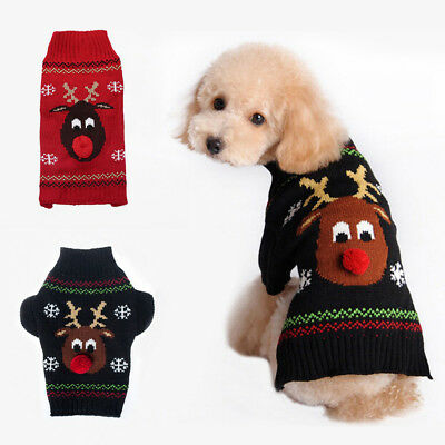 Christmas Dog Puppy Cat Red Nose Reindeer Ugly Sweater Pet Clothes Outfit Xmas