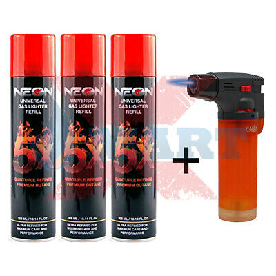 3 Cans NEON 5x PURIFIED BUTANE GAS REFILL 300ml + 1 TECHNO TORCH LIGHTER