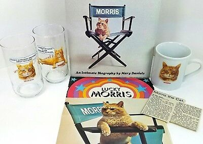 Morris The Cat 6 Piece Vtg Bundle Glasses Cup Biography Book Ad Article 9 Lives