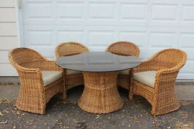 Vintage Bamboo Rattan Dining Room Table and 4 Chairs