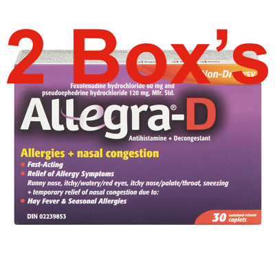 2 Boxes Allegra-D Allergy Nasal Congestion 30 Caplets from Canada Exp. 09/2020
