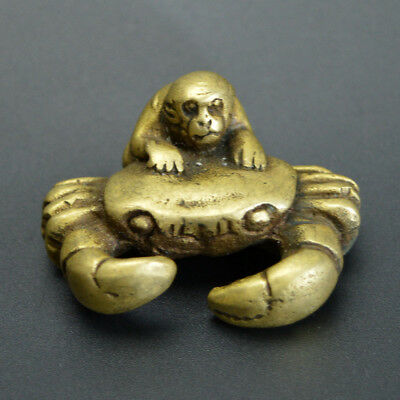 Chinese old collection handwork bronze Zodiac Monkey crab statue