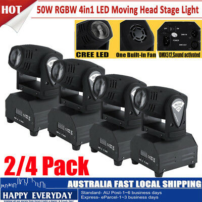 2/4/8x 50W LED Moving Head Stage Light RGBW Beam Spot 11/13CH DMX Sound Control