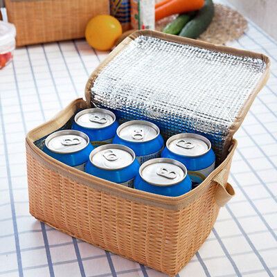 Large Thick Lunch Bag Box Insulated Tote Thermal Imitation Rattan Cooler AU