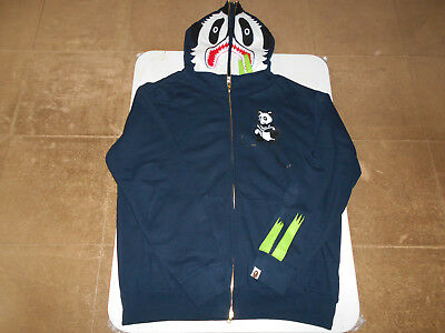 484d98c4cb71 Authentic A Bathing Ape Bape Panda Full Zip Hoodie Navy Blue L Used Rare  Shark