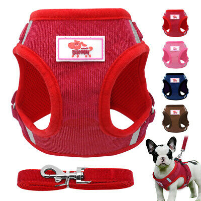 Soft Corduroy Dog Harness & Leash Escape Proof Cat Walking Jacket Adjustable