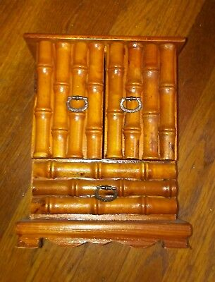Vintage Chinese Wooden Carved Bamboo Standing Upright Armoire Style Jewelry Box