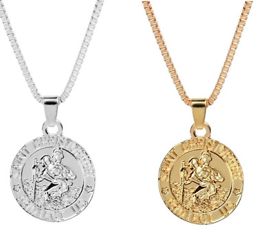 St Saint Christopher Protect Us Silver Gold Plated Necklace Pendant Chain Box