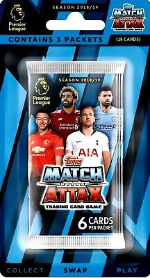 MATCH ATTAX 2018 2019 EPL Premier League 3 Pack Blister Trading Cards, In Stock