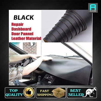 Black Leather Material Renew Car Interior Door Panel Trim Upholstery 80 x 140cm