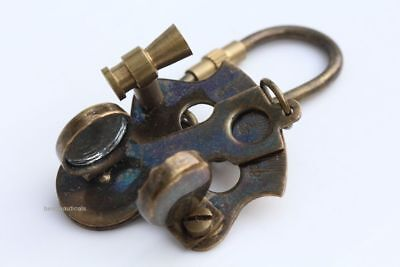 Solid Brass Vintage Sextant Brass Nautical Key Chain & Antique Brass Finish