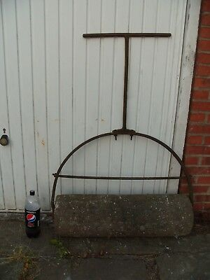 Antique Cast Iron & Stone Garden Roller, Very Large & Heavy, Fully Working