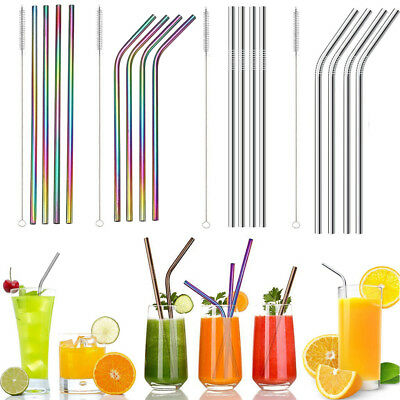 4x Reusable Rainbow Stainless Steel Metal Drinking Straws & Cleaning Brush Hot P