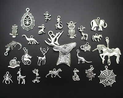 25 Different Styles Of Animals Tibetan Silver Retro Charm Pendants DIY Jewelry