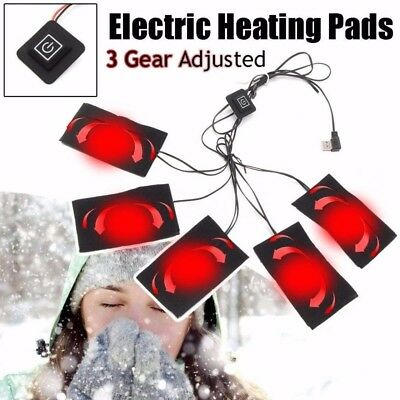 5/Set USB Electric Heating Pads Thermal Vest Clothes Heated Warming Gear UK FF