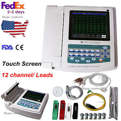 Touch Screen 12 Channel/lead EKG Digital +PC Sync Software ECG Machine CONTEC US