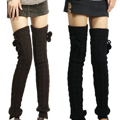 Women Winter Crochet Knitted Stocking Footless Leg Warmers Thigh High Socks Call