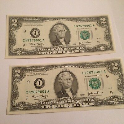 Uncirculated 2003 RARE Two Dollar Bill $2 Note Lucky consecutive numbers fancy