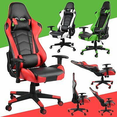 Executive Racing Gaming Computer Office Chair Adjustable Swivel Recliner Leather