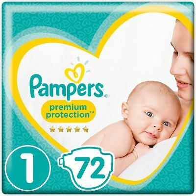 Pampers New Baby Nappies Diapers Size 1 with Wetness Indicator, Jumbo Pack of 72