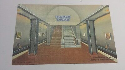 Moving Stairs, Chicago's Initial Subways 1940s Linen Colortone Postcard Unused