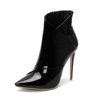 Womens Fashion Sexy Patent Pointed Toe Stiletto Party Ankle Boots Shoes XUNL