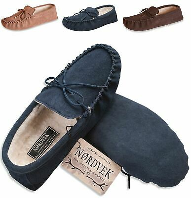 7528be8dd6e7 Nordvek Mens Genuine Suede Sheepskin Wool Moccasin Slippers Suede Sole  423-100