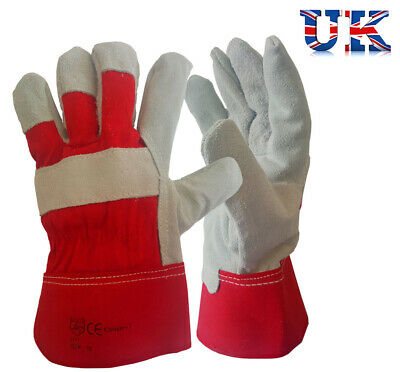 10 Pairs Heavy Duty Tough Gloves Canadian Leather Gauntlet Rigger Red Grey XL