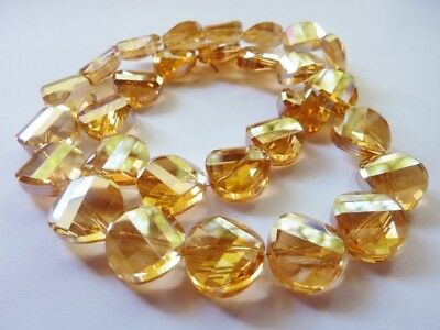 20 pce Beige Coin Faceted Twist Electroplate Crystal Glass Beads 14mm