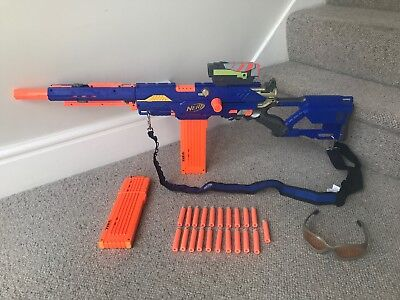 NERF Longstrike Sniper Rifle Gun With Bandolier, Scope, Glasses, 2 Clips & Darts