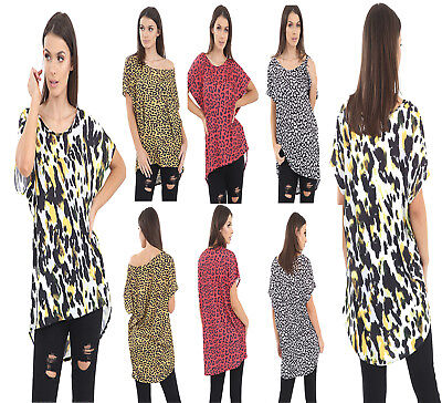 79c9365693 Women's Ladies Hi Lo Hem Baggy Leopard Print Short Sleeve T-Shirt Top ...