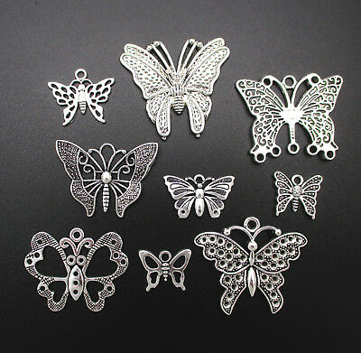 9 Different Styles Of Butterflies Tibetan Silver Retro Style DIY Charm Pendants