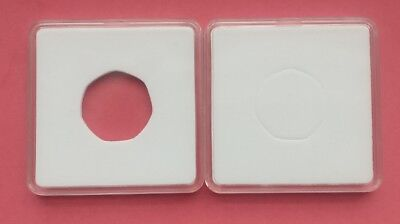2 Square Capsule Coin Cases [65mm] with White Foam 7 sided 50p sized inserts