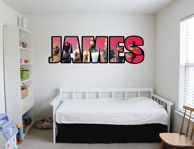 Personalised Fortnite Wall Sticker Childrens Poster Bedroom Xbox Playstation...