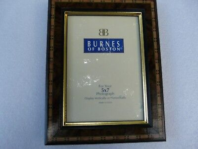 Vintage Made in USA Burnes Of Boston  Inlaid wood frame 5 x 7 photograph frame