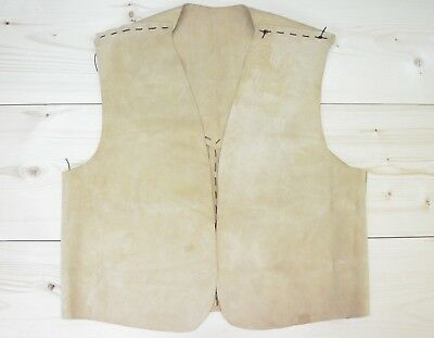 Primitive Leather Vest Handmade Tan Brown Hunter Woodsman Mountain Man No Tag XL