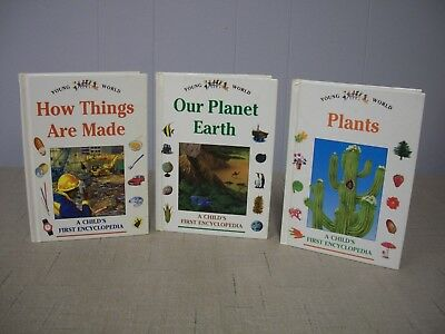 Lot of 3 Young World Child's First Encyclopedia Hardcover Books Plants Earth ++