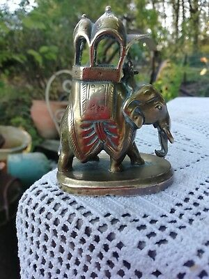 Vintage Solid Brass Indian Elephant With Mahout Rider Circa 1930's/40's