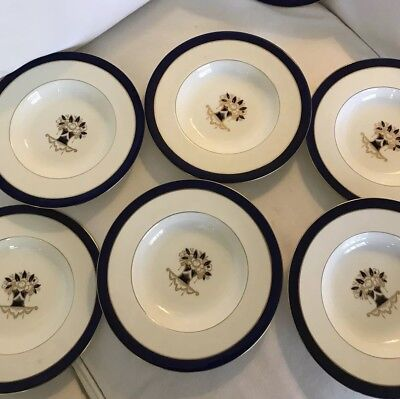Tiffany And Co England China Plates Set Of 6-Soup Bowls Blue Snd Gold