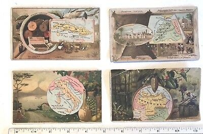 Arbuckle Bros Coffee Trade Cards 1889 - Lot of 4 Countries #'s 54, 55, 78 & 80