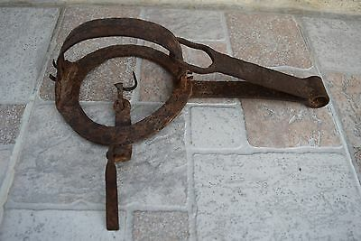 Antique Primitive 19th C. FORGED Wrough Iron Vintage HUNTING OLD ANIMAL TRAP #8