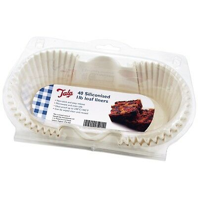 Tala Siliconised Greaseproof 1lb Loaf Tin Reusable Baking Liners 40 Pack